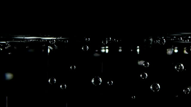 soda water bubbles on a black background
