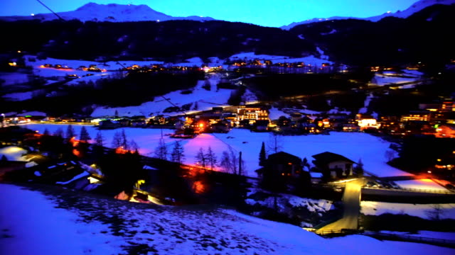 soelden town at dusk, tirol, austria - austria stock videos and b-roll footage