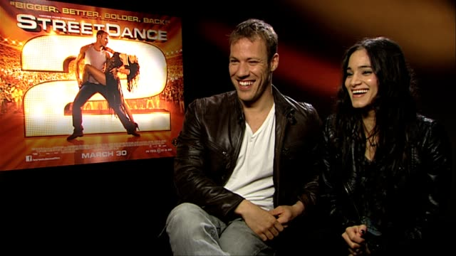 sofia boutella and falk hentschel on burping at street dance 2 3d interviews at corinthia hotel london on march 22, 2012 in london, england - burping stock videos & royalty-free footage