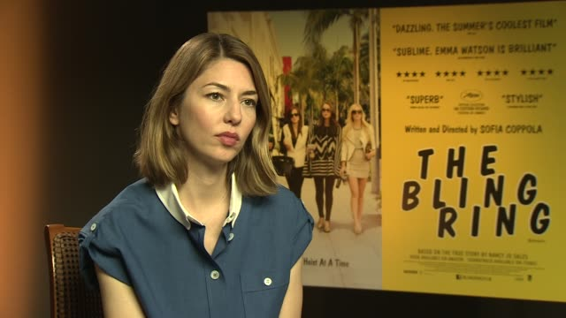 sofia coppola on tabloid gossip and the reactions at the bling ring sofia coppola uk junket interview on the 29th of may 2013 - bling bling stock-videos und b-roll-filmmaterial