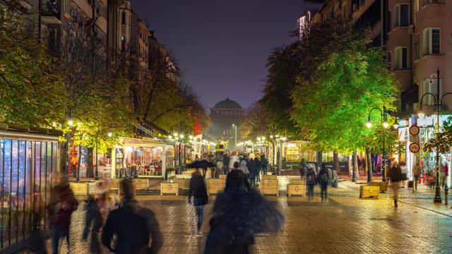 sofia eastern europe bulgaria timelapse locked shot showing vitosha pedestrian - bulgaria stock videos & royalty-free footage