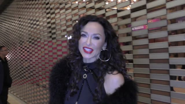 sofia milos talks about if she would ever do theatre outside pantages theatre in hollywood in celebrity sightings in los angeles, - パンテージスシアター点の映像素材/bロール