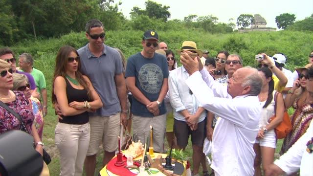 sofia vergara and nick loeb celebrate her 40th birthday in chichen itza mexico 07/06/12 - chichen itza stock videos and b-roll footage
