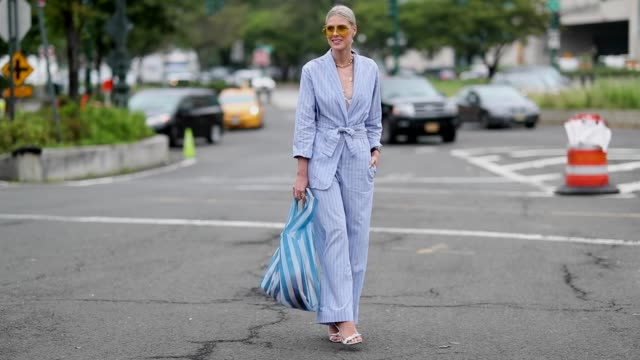 sofie valkiers wearing blue striped suit and striped bag is seen outside coach during new york fashion week spring/summer 2019 on september 11 2018... - completo video stock e b–roll