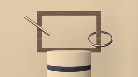vídeos y material grabado en eventos de stock de marrón suave/crema color escena madera material oro negro forma geométrica 3d movimiento de representación - tostada