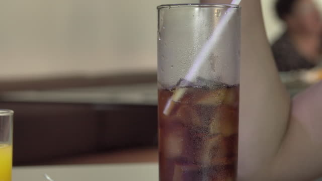 soft drink cold beverage with straw - paglia video stock e b–roll