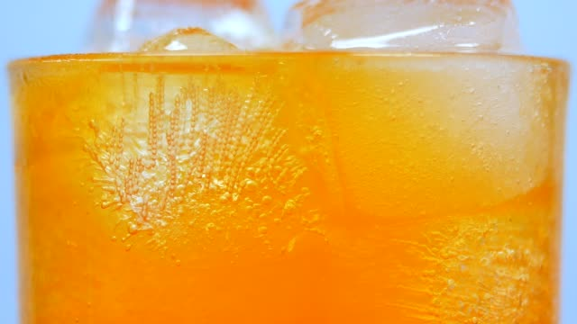 soft drink orange in drinking glass close-up