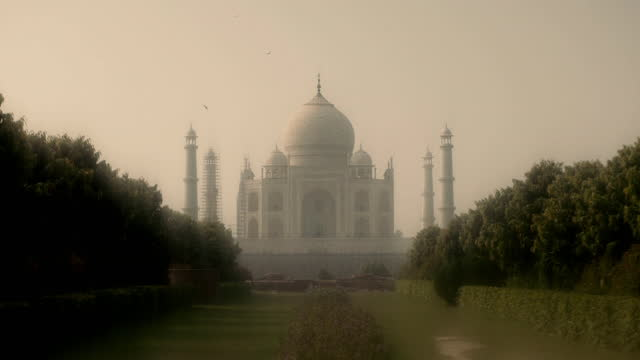 soft focus ws and cu of dome of taj mahal, india - soft focus stock videos & royalty-free footage