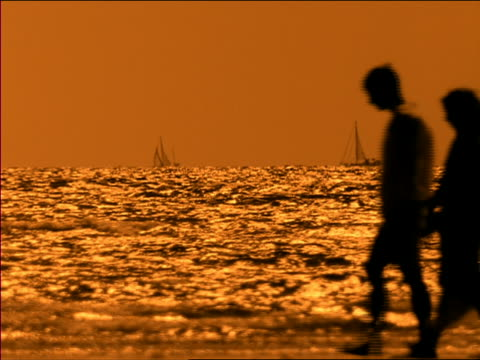 soft focus medium shot silhouettes of couple walking with ocean and sailboats in background at dusk / miami, florida - manipolazione di colore video stock e b–roll