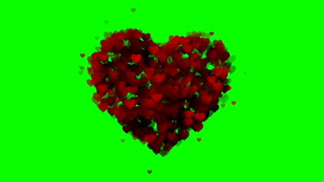 vídeos de stock, filmes e b-roll de coração mole fundo verde-caixa (loopable) - símbolo do coração