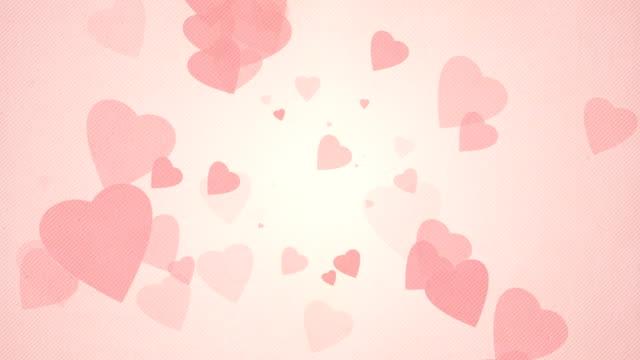 vídeos de stock e filmes b-roll de soft simples corações de fundo vermelho-pastel loops x3 - flutuar no ar