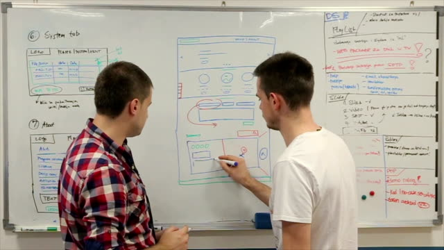 software develop, young programmers writing codes on the white board - web designer stock videos & royalty-free footage