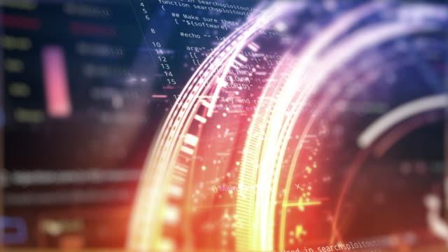 stockvideo's en b-roll-footage met software developer programmeercode op abstractie digitale cirkels lichte achtergrond - computersoftware