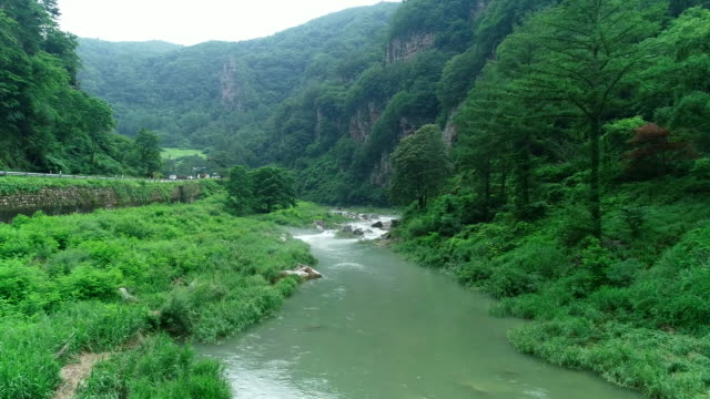 sogeum river's hwaam eight scenic sites of jeongseon county, gangwon province, south korea - south korea stock videos & royalty-free footage