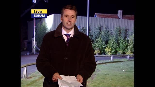 verdict: itv evening news pab; england: cambridgeshire: soham: ext / night mark austin presenting live from outside ian huntley home sot - itv evening news stock videos & royalty-free footage