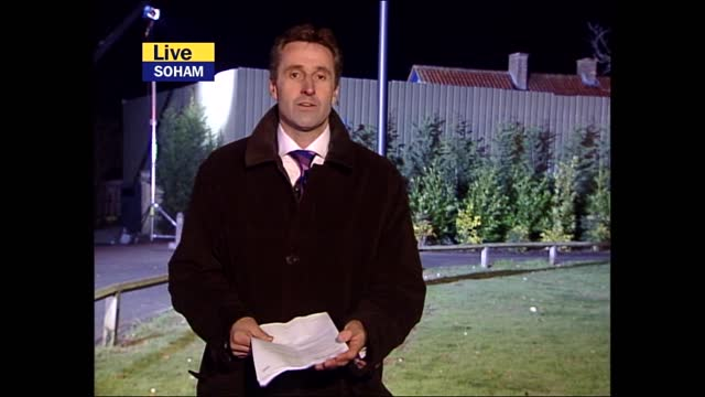 verdict: itv evening news pab; england: cambridgeshire: soham: ext / night mark austin presenting live from outside ian huntley home sot - sign off - itv evening news stock videos & royalty-free footage