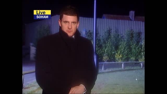 stockvideo's en b-roll-footage met verdict: itv late news pab; england: london: gir: int bill neely i/c cambridgeshire: soham: ext / night geraint vincent live reporter to camera sot - itv late news