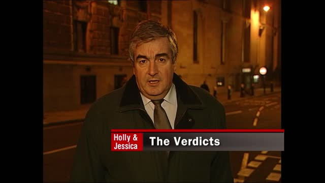 stockvideo's en b-roll-footage met verdict: itv late news pab; england: london: gir: int bill neely i/c old bailey: ext / night colin baker reporter to camera sot - itv late news