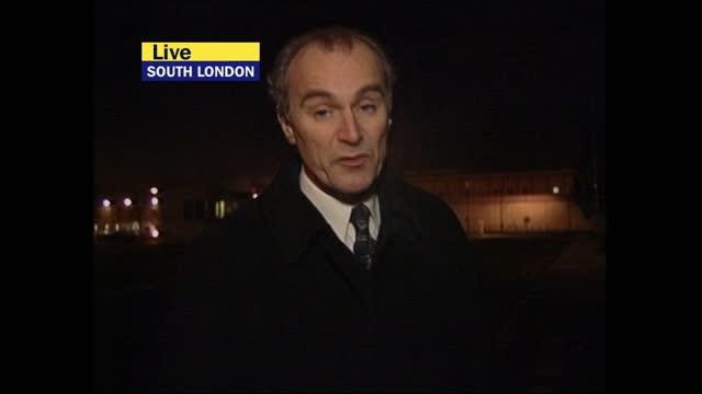 stockvideo's en b-roll-footage met verdict: itv late news pab; england: south london: / gir: ext / night john draper live 2-way reporter to camera sot england: london: gir: int bill... - itv late news