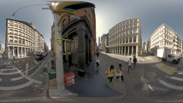 360 vr soho neighbourhood in manhattan new york city usa - 360 stock videos & royalty-free footage