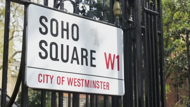 soho square street sign. - sign stock videos & royalty-free footage