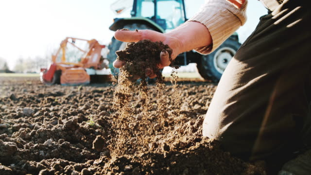 slo mo soil flowing through the hand of a farmer - examining stock videos and b-roll footage