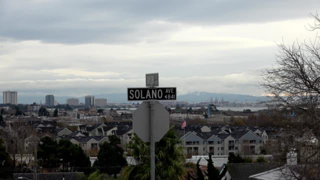 solano avenue road sign - oakland california stock videos & royalty-free footage