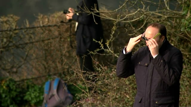 solar eclipse across the uk and europe bristol ext high angle gv people gathered on grass beside clifton suspension bridge man putting on protective... - solar eclipse glasses stock videos and b-roll footage