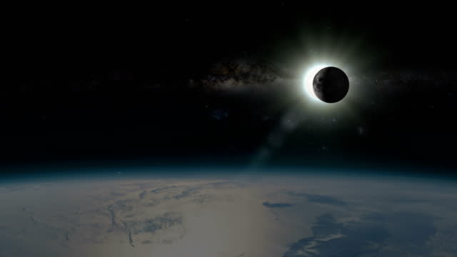solar eclipse - view from outside of earth - moon stock videos & royalty-free footage