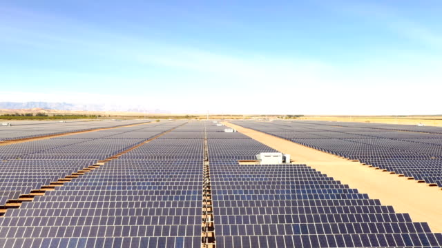 solar electricity generation facility sits along the border of the united states and mexico on january 26, 2019 near calexico, california. the u.s.... - fuel and power generation stock-videos und b-roll-filmmaterial