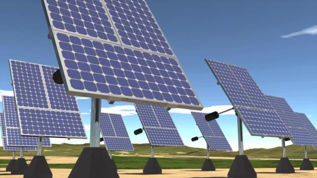 ソーラーエネルギーファーム日の出から日の入り cg - 発電所点の映像素材/bロール