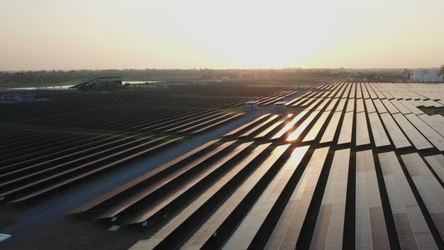 solar farm in aerial view - air vehicle stock videos & royalty-free footage