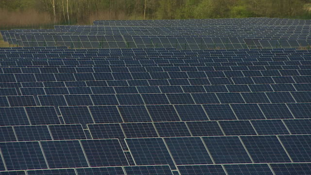 solar farm in meuro germany - solar panels stock videos & royalty-free footage