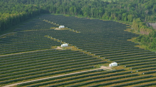 aerial a solar farm near ottawa, ontario - electricity stock videos & royalty-free footage