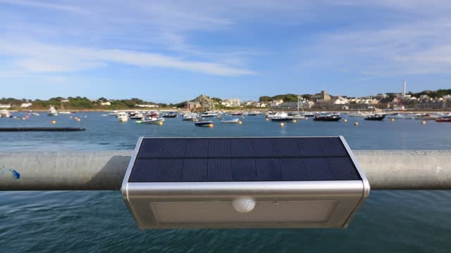 solar light on the harbour in hugh town, st mary's, isles of scilly . - isles of scilly stock videos & royalty-free footage