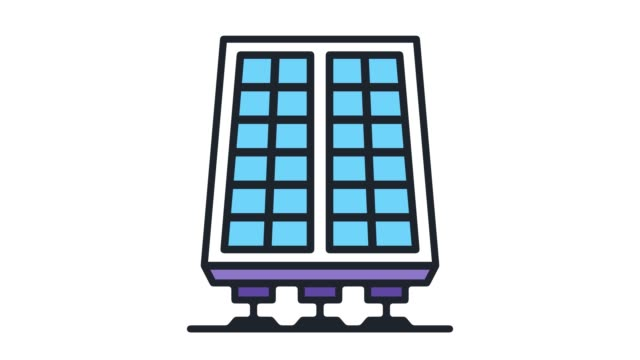 solar panel efficiency flat line icon animation with alpha - outline stock videos & royalty-free footage