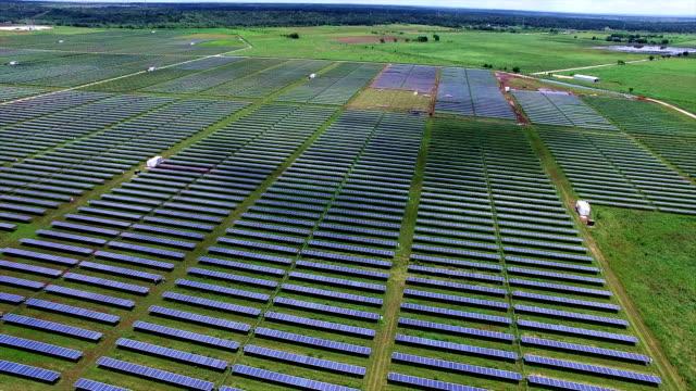 Solar Panel Farm Austin Texas 34 Megawatt system Pan right to left over Solar Field