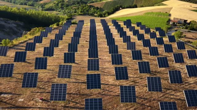 Solar panel green energy field on hills