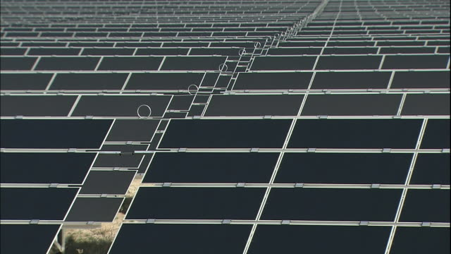 Solar panel grids generate electricity at the LieberosePhotovoltaicPark
