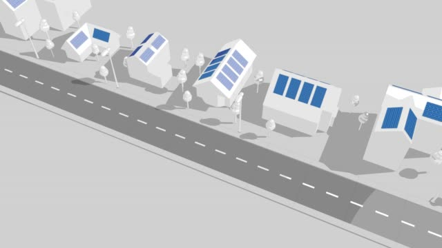 solar panel houses and street 3d loop animation - illustration stock videos & royalty-free footage