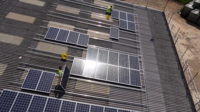 solar panel installation - installing stock videos & royalty-free footage