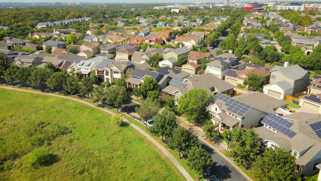 solar panel rooftop suburb real estate neighborhood - district stock videos & royalty-free footage