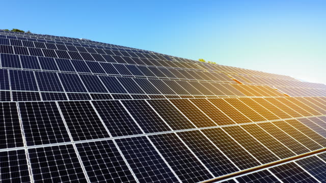aerial ms solar panels along sunny hillside - control stock videos & royalty-free footage