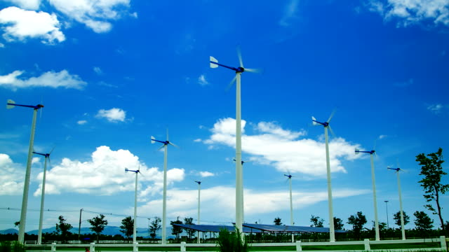 Solar Panels and White wind turbine