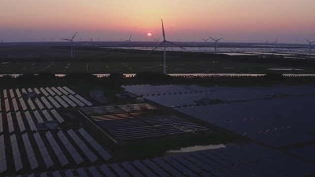 solar panels and wind turbines - generator stock videos & royalty-free footage