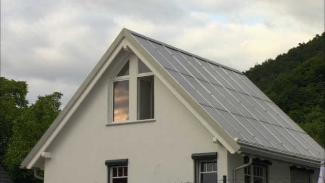 ms solar panels covering roof of home / marburg, germany - hesse germany stock videos & royalty-free footage