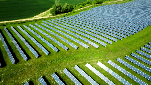 AERIAL: Solar Panels from a solar power plant