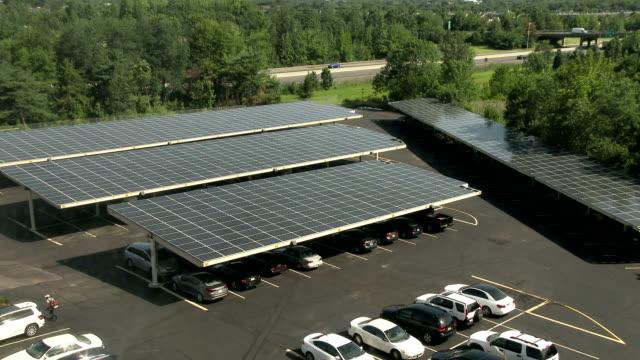 Solar panels in a car park