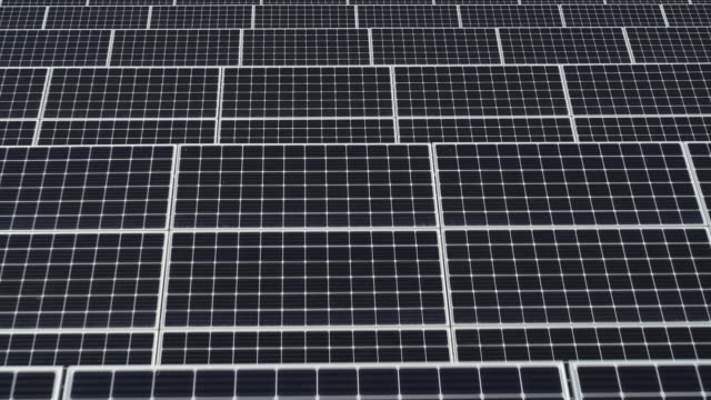 solar panels in solar farm / seosan-si, chungcheongnam-do, south korea - pannello di controllo video stock e b–roll