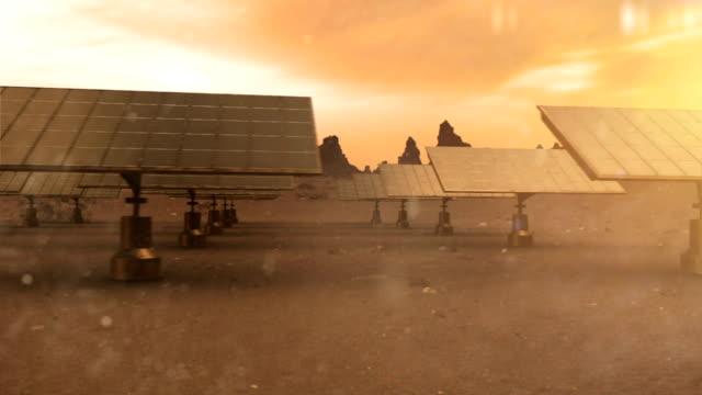 solarzellen in der wüste - steuerpult stock-videos und b-roll-filmmaterial